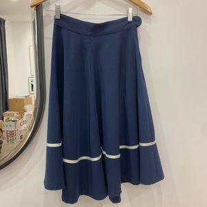 Navy Midi Skirt Vintage Inspired